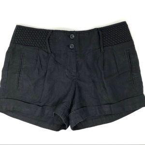 Ann Taylor Loft Black Weave Linen Trouser Shorts